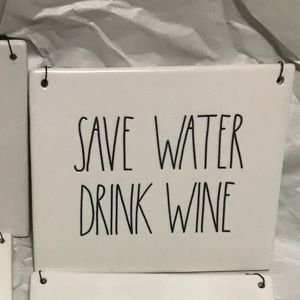Rae Dunn Dave water drink wine sign